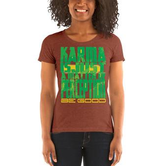 On sale brown Spiritual Karma Ladies' short sleeve t-shirt by neoclassical pop art