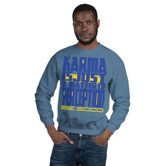 buy online smart Spiritual blue yellow Karma Unisex Sweatshirt by neoclassical pop art