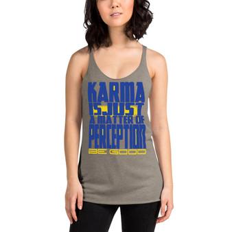 on sale Spiritual Good Karma Women's Racerback Tank by neoclassical pop art