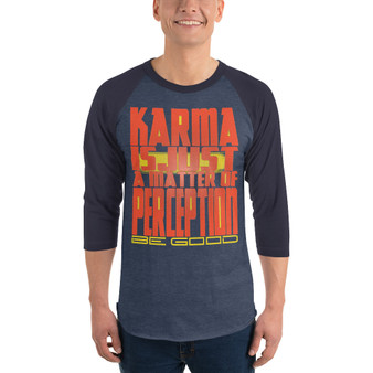 on sale Spiritual Karma Perception dark grey 3/4 sleeve raglan shirt by neoclassical pop art online pop art gift store