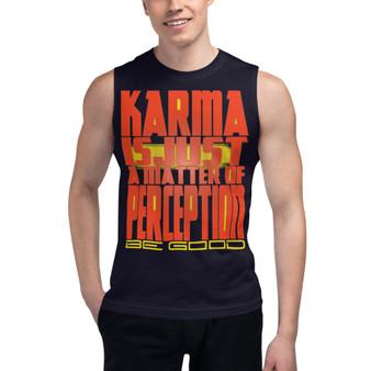 on sale cool Spiritual orange yellow Karma Perception Muscle Shirt by Neoclassical Pop Art online pop art gift store