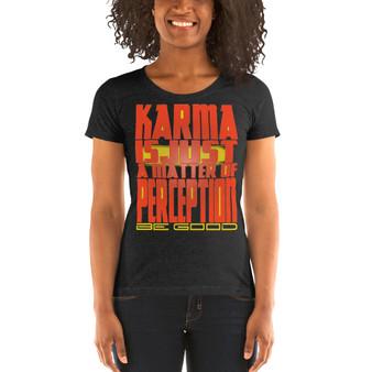 on sale Spiritual orange yellow  Karma Perspective Ladies' short sleeve t-shirt by Neoclassical Pop Art
