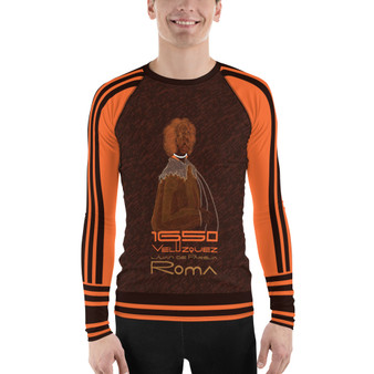 on sale Diego Velázquez brown orange Men's Rash Guard by Neoclassical Pop Art online gift shop