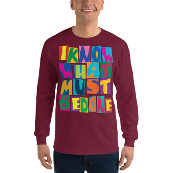 on sale Spiritual  'I know that I do not know ' Men's Long Sleeve Shirt by neoclassical pop art online pop art gift shop