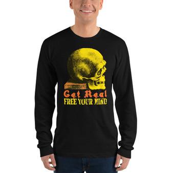 On sale Da Vinci free Your Mind skull art Long sleeve t-shirt  by neoclassical pop art designer store online