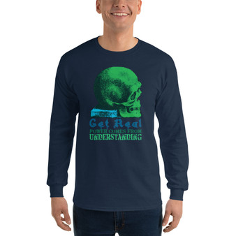 On sale Da Vinci Power Comes From Understanding  skull art Men's Long Sleeve  rock and roll Shirt by Neoclassical pop art online pop art fashion designer brand.