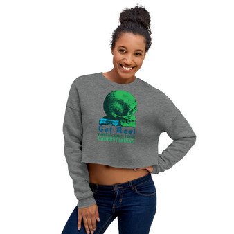 On sale Da Vinci Power Comes From Understanding Crop Sweatshirt by neoclassical pop art online fashion brand