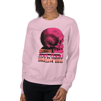 on sale Da Vinci  Dream Big Pink Skull Unisex Sweatshirt  by Neoclassical pop art online pop art brand