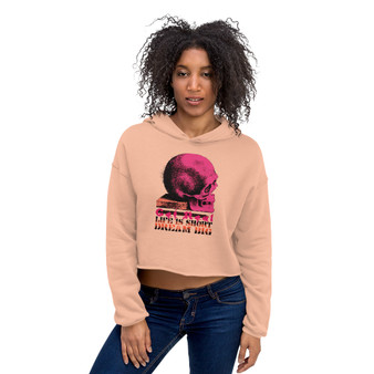 On sale Da Vinci  Dream Big Pink Skull Crop Hoodie by neoclassical pop art online fashion designer brand