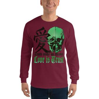 On Sale Da Vinci Green Skull Trust Love Men's Long Sleeve by Neoclassical Pop Art