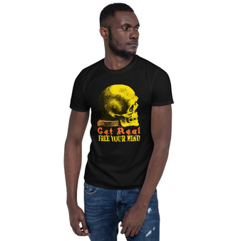 On sale Da Vinci Get Real Yellow orange Skull Short-Sleeve Unisex T-Shirt  by Neoclassical pop art online pop art fashion brand