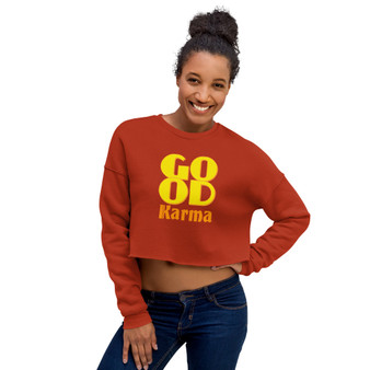 on sale Spiritual  Good Karma Crop Sweatshirt by neoclassical pop art online fashion brand