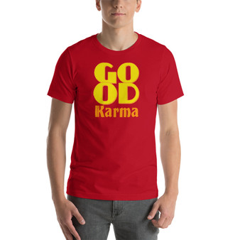 On sale fashion style Yellow Good Karma red Short-Sleeve Unisex T-Shirt by neoclassical pop art fashion designer online brand
