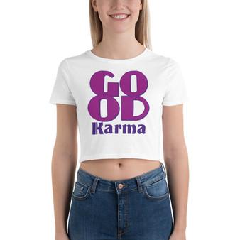 On sale Spiritual Good Karma Women's Crop Tee by Neoclassical pop art online pop art fashion designer brand