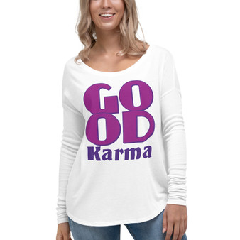 On sale Spiritual Good Karma womens clothes  Ladies' Long Sleeve Tee by Neoclassical pop art online fashion designer brand