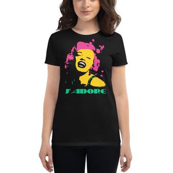 on sale the best Marilyn Monroe J'adore Women's short sleeve t-shirt by Neoclassical pop art