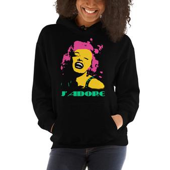 on sale online marilyn Monroe pink yellow green black cool J'adore Unisex Hoodie by neoclassical pop art