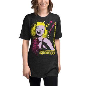 On sale Marilyn Monroe Blond Bomb Shell Unisex Tri-Blend Track Shirt by Neoclassical pop art