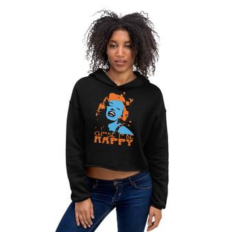 on sale trendy sassy Marilyn Monroe Choose to Be Happy Crop Hoodie by Neoclassical Pop art online designer shop