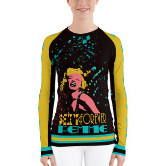 On sale Marilyn Monroe Blond Women's Rash Guard nu neoclassical pop art online fashion brand