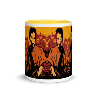 Yellow, brown, orange el greco Apostle St. James the Greater pop art mug by neoclassical pop art