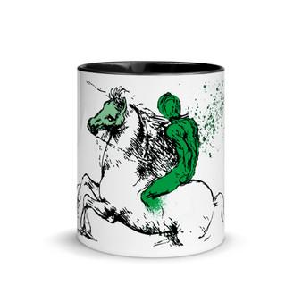 On sale green leonardo da vinci royal horse mug with words  by Neoclassical pop art