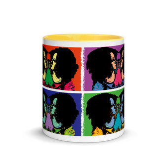 Sandro botticelli yellow blue neoclassical pop art mug by Neoclassical Pop Art  modern pop art store