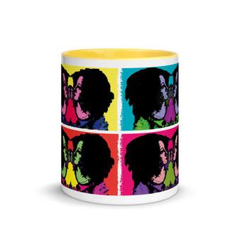 Blue Pink Green Purple Yellow  Sandro botticelli yellow blue neoclassical pop art mug byNeoclassical Pop Art