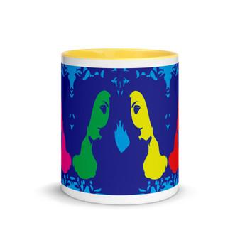 Red, yellow, green, pink, blue Sandro botticelli art coffee mug by Neoclassical Pop Art