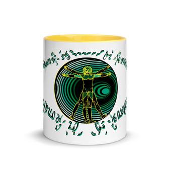 Best Leonardo da Vinci green black neoclassical pop art Coffee Mugs by Neoclassical Pop Art
