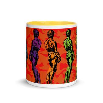 orange green yellow lilac Michelangelo David Neoclassical pop art mug by Neoclassical Pop Art
