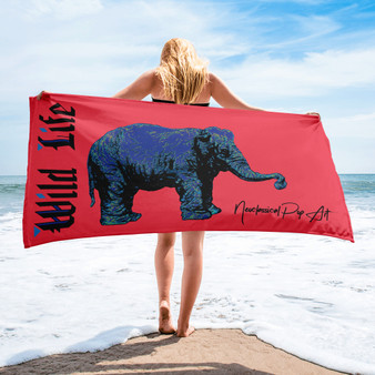 buy Rembrandt My First Elephant Red Blue luxury animal Towels by Neoclassical pop art