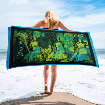 Cool Eduard Manet green blue nude woman siting on rock collectible art print towel by Neoclassical Pop Art