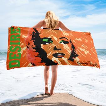 Buy online the best Marilyn Monroe  Desire Love Orange Green collectible pop art luxury artist beach Towel by Neoclassical pop art
