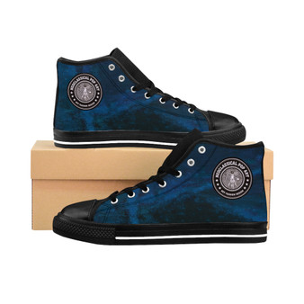 buy Da Vinci Blue Men's High-top Sneakers by Neoclassical Pop Art trendy fashion designer online brand store