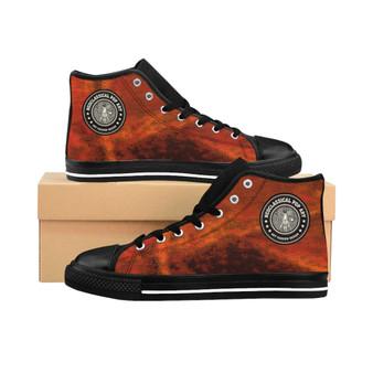 buy Da Vinci Men's High-top trendy Orange Sneakers by Neoclassical Pop Art fashion designer online brand store