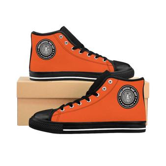 buy online leonardo Da Vinci Orange Women's High-top Sneakers by neoclassical pop art fashion designer brand