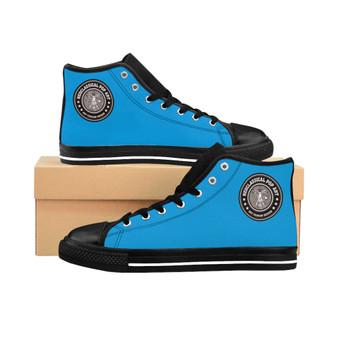 On sale trendy Da Vinci Light Blue Women's High-top Sneakers by Neoclassical pop art fashion designer online brand