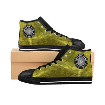 buy Da Vinci Yellow Shimmer Women's High-top Sneakers by Neoclassical Pop Art designer fashion online brand store