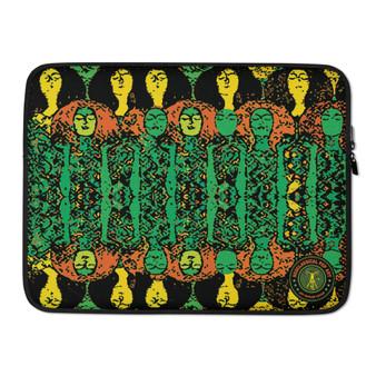 "on sale Gustav Klimt Beethoven Frieze"" Colorful green orange yellow trendy designer Laptop Sleeve by Neoclassical Pop Art Online Brand online store"