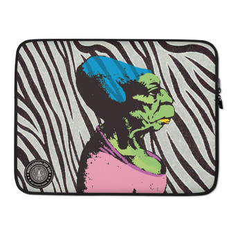 on sale fashionable leonardo da vinci  Blue pink green Caricature on zebra pattern designer Laptop Sleeve by Neoclassical Pop Art Online Brand online store