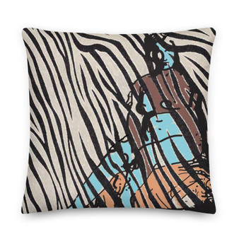 On sale Eduard Manet brown blue Nude in Nature black and off white zebra throw Pillow by Neoclassical Pop Art online brand store