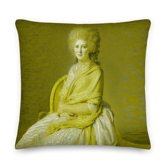 """On sale Jacques-Louis David """"Neoclassical Countess"""" throw pillow yellow. Neoclassical Pop Art decorative pillow by Neoclassical Pop Art  online designer brand store"""