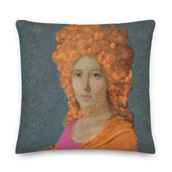 On sale Orange, grey blue. pink Old Masters pillow for sale online by Neoclassical Pop Art online designer art fashion and design brand