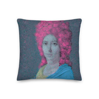 grey blue. pink Old Masters portrait  art print decorative pillow for sale  by Neoclassical Pop Art online designer art fashion and design brand