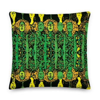 On sale Gustav Klimt  Green Yellow Premium decorative throw pillow Pillow by Neoclassical Pop Art designer online art fashion and design brand store