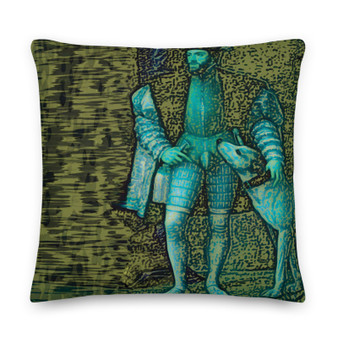 On sale Titian artist throw pillow dog theme in olive green by Neoclassical Pop Art online designer brand online store
