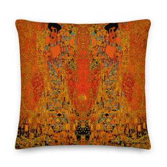 On sale Gustav Klimt Orange decorative Premium throe pillow Pillow by Neoclassical Pop Art online art fashion design brand  store