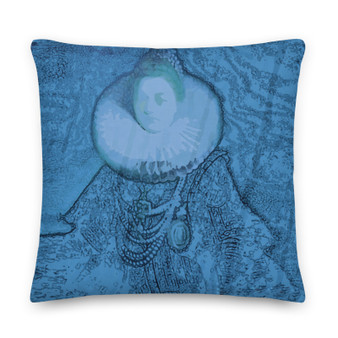 On sale Rembrandt Light Blue Premium throw  Pillow  by Neoclassical Pop Art online designer brand for home and living