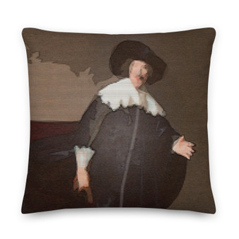 on sale Rembrandt portrait  brown, ochre and white Decorative Pillows by Neoclassical Pop Art  online art fashion and design brand